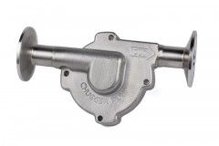 "Stainless Steel Inline Pump Head with 1.5"" Tri Clover compatible flanges"
