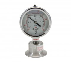Tri Clover Compatible Sanitary Pressure/Vacuum Gauge (-15)-30 PSI Bottom Mount