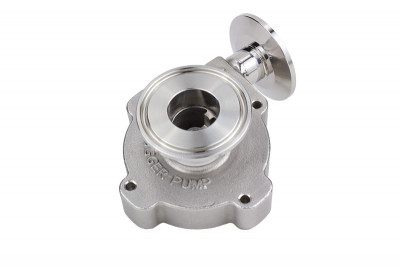 "Stainless Steel Center Inlet Pump Head with 1.5"" Tri Clover compatible flanges"