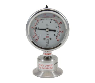 Tri Clover Compatible Sanitary Pressure/Vacuum Gauge (-15)-60 PSI Bottom Mount