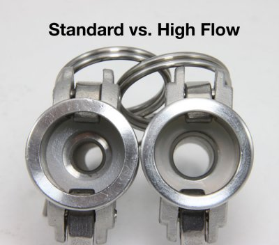 "Standard 1/2"" barb vs high flow barb."