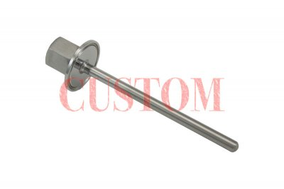 "1""/1.5"" Tri Clover Compatible Thermowell with 1/2"" FPT Inlet - Custom Length"