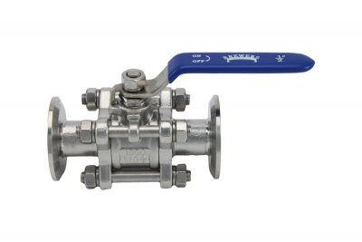 "1"" Tri Clover Compatible 3-Piece Ball Valve with 1/2"" full bore"