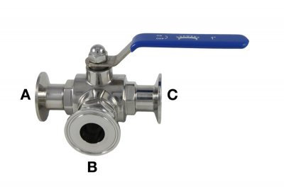"1"" Tri Clover Compatible 3-Way Ball Valve"