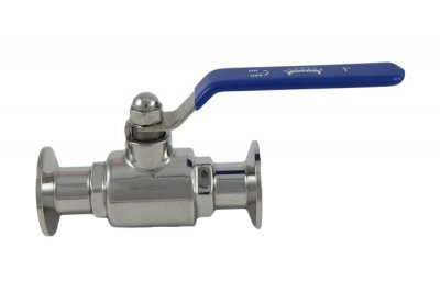 "1"" Tri Clover Compatible Economy Ball Valve Flat Handle Design"