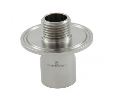 "1.5"" Tri Clover Compatible X 1/2"" FPT inlet and 1/2"" MPT on inside of ferrule"