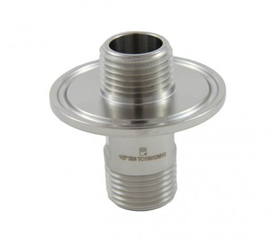 "1.5"" Tri Clover Compatible X 1/2"" MPT inlet and 1/2"" MPT on inside of ferrule"