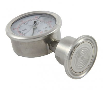 Pressure gauge showing bottom of flange