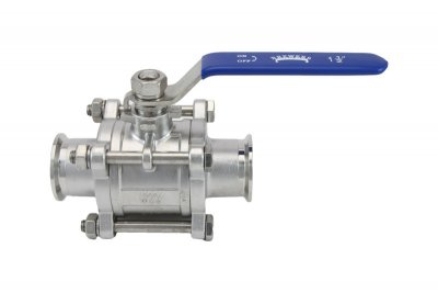 "1.5"" Tri Clover Compatible 3-Piece Ball Valve"