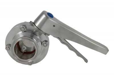 "2"" Tri Clover Compatible Butterfly Valve - Stainless Steel Handle"
