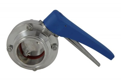 "2.5"" Tri Clover Compatible Butterfly Valve - Squeeze Trigger"