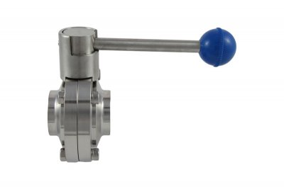 "1.5"" 3A Compatible Weld-In Butterfly Valve with Pull Trigger"